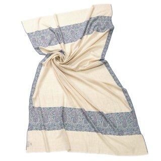 【Kashmir Cashmere】手織り カシミヤ ニードル手刺繍ショール【PREMIUM】(ホワイト)
