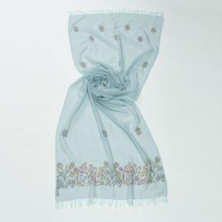 【PASTEL FLOWERS(パステルフラワー)】 薄手ウール・シルク アリー手刺繍ストール (グリーン)