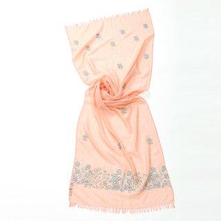【PASTEL FLOWERS(パステルフラワー)】 薄手ウール・シルク アリー手刺繍ストール (サーモンピンク)