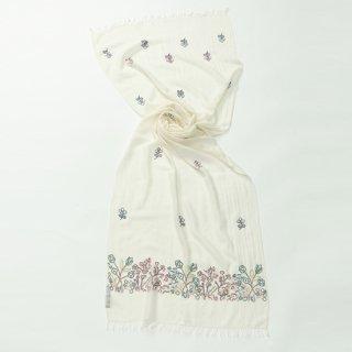 【PASTEL FLOWERS(パステルフラワー)】 薄手ウール・シルク アリー手刺繍ストール (ホワイト)