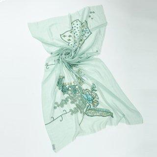 【20%OFF】【FLOWER IN GENOVA(フラワー イン ジェノバ)】薄手コットン・シルクアリー&ニードル手刺繍ストール
