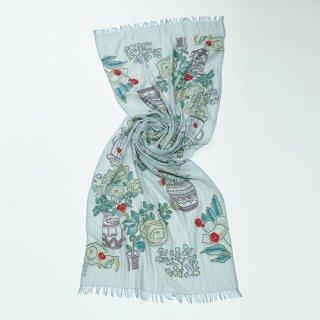 【FLOWER POT(フラワーポット)】 ウール・シルク アリー手刺繍ストール(アクアグリーン)
