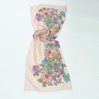 【10%OFF】【New Vivid Flowers series*NEW FLOWER CAPE(ニューフラワーケープ)】 薄手ウール・シルク アリー手刺繍