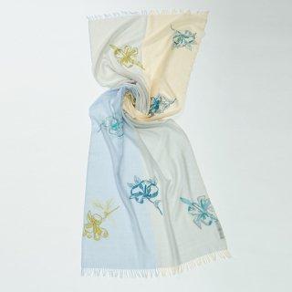 【4Pastel  & POP HIBISCUS(4パステル&ポップハイビスカス】薄手ウール・シルク アリー手刺繍ストール(ライトグリーン/ライトブルー)