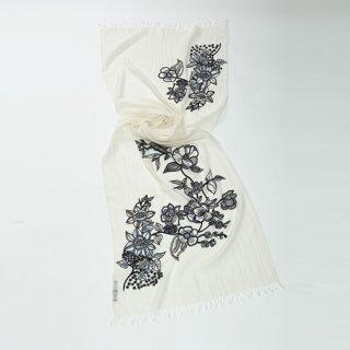 【10%OFF】【FLOWER BOUQUET(フラワーブーケ)】薄手ウール・シルク フラワーモチーフ アリー手刺繍ストール (ホワイト/ブラック)