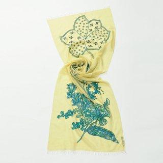 【FLOWER IN GENOVA(フラワー イン ジェノバ)】薄手ウール・シルク アリー&ニードル手刺繍ストール (レモン)
