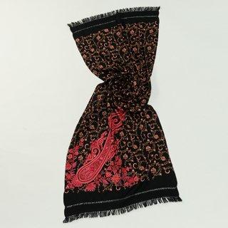 【Flower & Paisley(フラワー&ペイズリー)総柄】ウール素材 ニードル&アリー手刺繍ストール (ブラック/レッド)