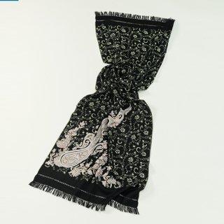 【Flower & Paisley(フラワー&ペイズリー)総柄】ウール素材 ニードル&アリー手刺繍ストール (ブラック/ベージュ)