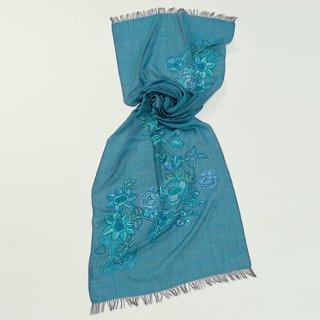 【FLOWER BOUQUET(フラワーブーケ)】薄手ウール・シルク アリー手刺繍ストール (ダークターコイズ)