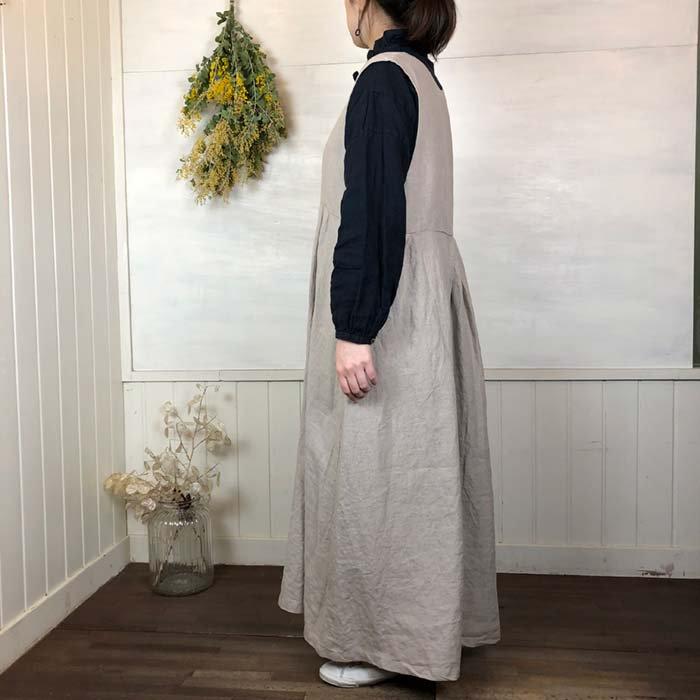 Dgy リネンオックスVネック切替ジャンパースカート サブイメージ