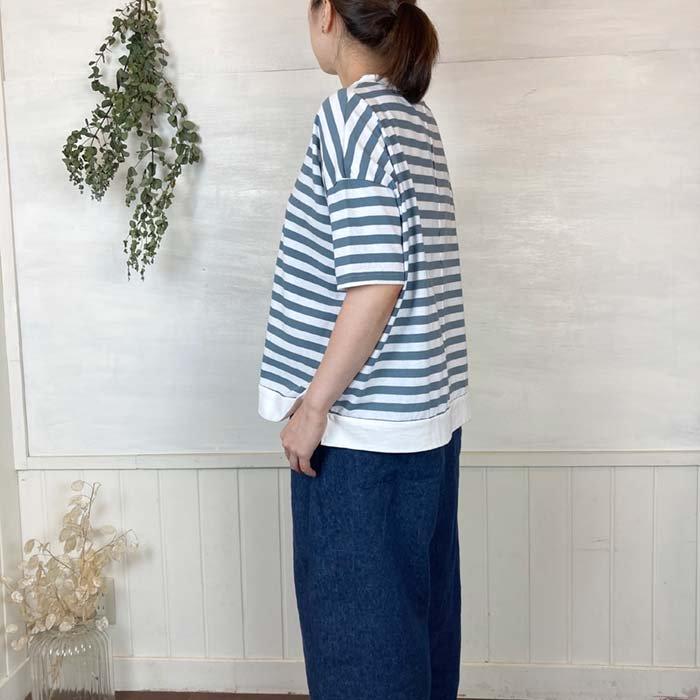 BLUE LAKE アメリカンドライ天竺ボーダーワイドTシャツ 日本製 サブイメージ