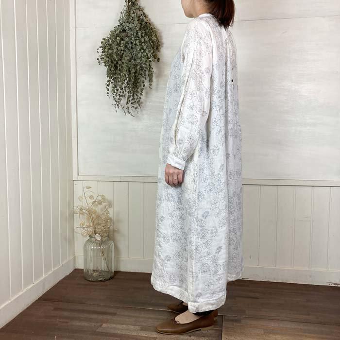 tukuroi 花柄リネン2WAYスタンドカラーワンピース サブイメージ
