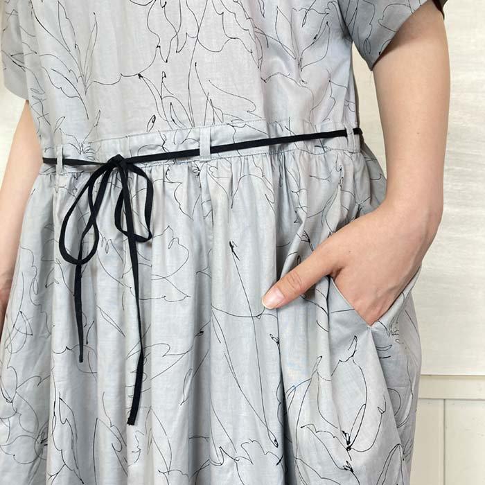 s.t.closet 線画フラワープリント半袖ワンピース サブイメージ
