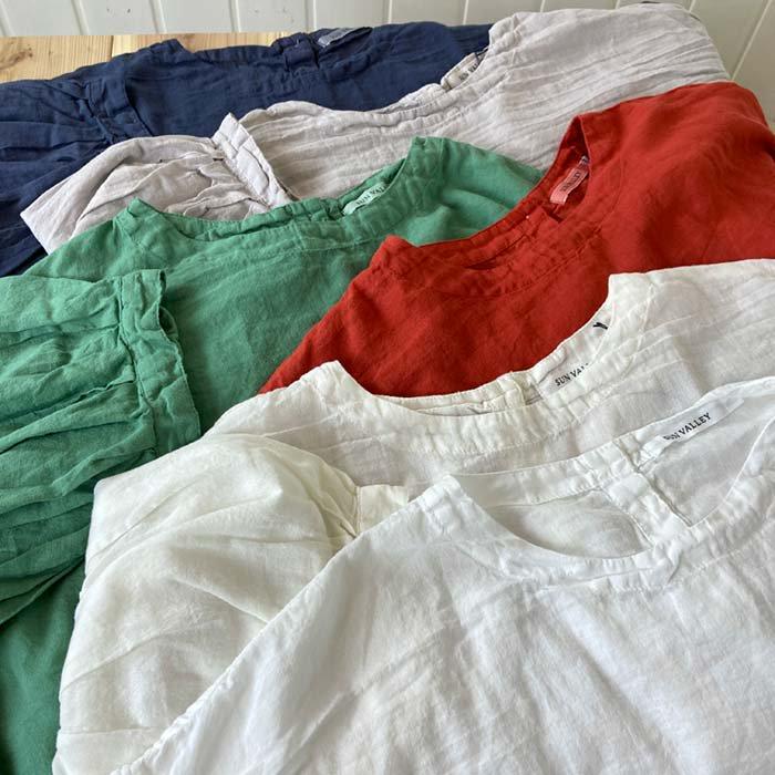 SUN VALLEY 40ボイルガーゼパフ袖プルオーバーブラウス 日本製品染め サブイメージ