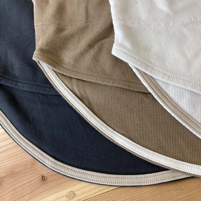 BLUE LAKE ハニカムメッシュラウンドヘム6分袖Tシャツ 日本製 サブイメージ