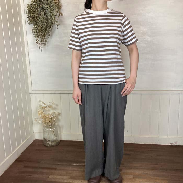 BLUE LAKE アメリカンドライ天竺コットン裾ラウンドボーダーTシャツ 日本製 サブイメージ