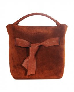 トルコ製 レザーバッグ ブラウンスウェード 牛革100% ハンドバッグ ID6132