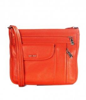 トルコ製 レザーバッグ オレンジ 牛革100% ハンドバッグ ID3210
