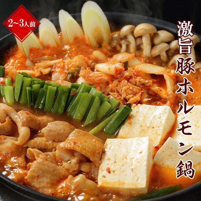 激旨豚ホルモン鍋 2〜3人前 〆の麺付き (K4-006)