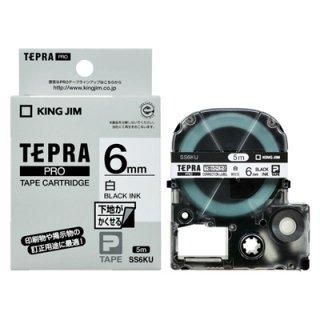 テプラPROテープカートリッジ 下地がかくせる 白に黒文字 6mm幅  SS6KU