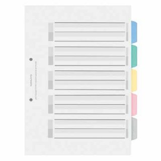 コクヨ カラー仕切カード<PP>(ファイル用) A4縦 5山+扉紙 2穴 5組入 シキ-P30