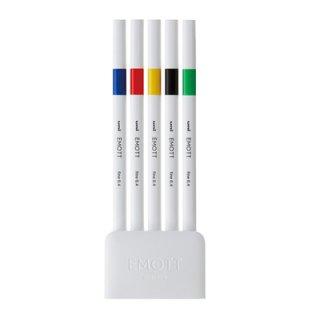 三菱鉛筆 EMOTT エモット 水性サインペン 5色セット NO.1 ビビッドカラー PEMSY5C.NO1