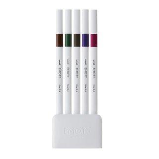 三菱鉛筆 EMOTT エモット 水性サインペン 5色セット NO.3 ビンテージカラー PEMSY5C.NO3