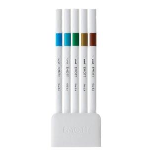 三菱鉛筆 EMOTT エモット 水性サインペン 5色セット NO.4 アイランドカラー PEMSY5C.NO4