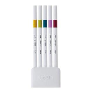 三菱鉛筆 EMOTT エモット 水性サインペン 5色セット NO.8 レトロカラー PEMSY5C.NO8