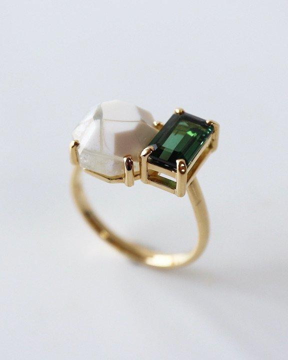 I never met someone like you, but I like you! Ring(Green Tourmaline,Agate)