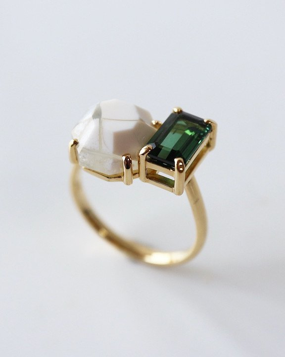 I never met someone like you, but I like you! Ring(Green Tourmaline,Agate) | アゲート リング