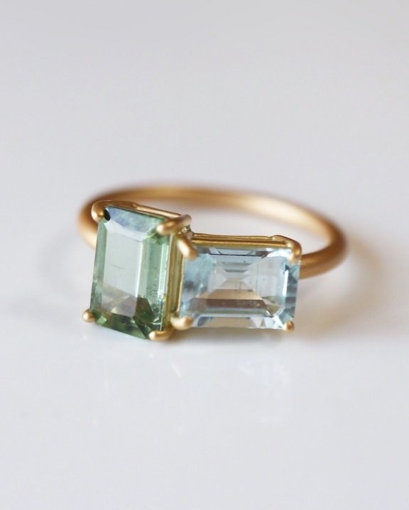 Best Match Ring(Green Tourmaline,Aquamarine)
