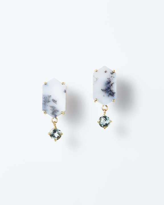 Memory of the breathtaking silent view Earrings(Dendrite Agate)