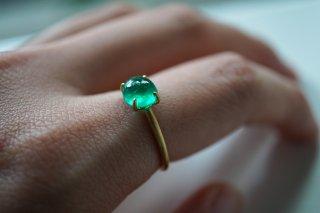 Emerald Cabochon Gem Ring