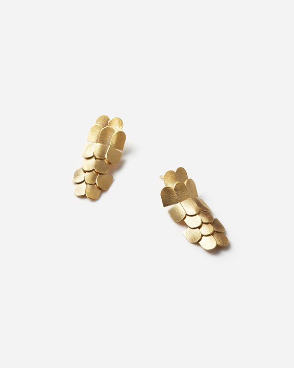 Double rounded roof Earrings L (color_GOLD) |  ピアス