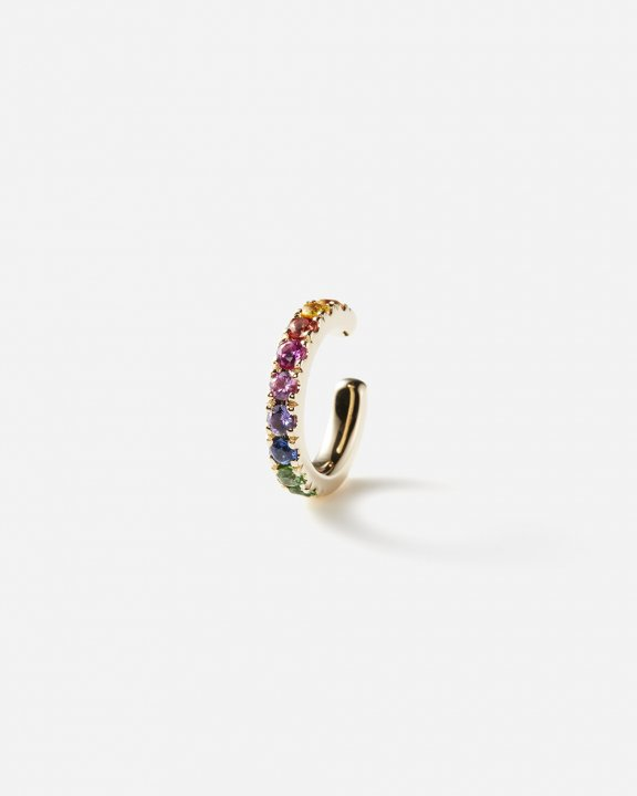 Orb Earcuff medium with rainbow sapphires