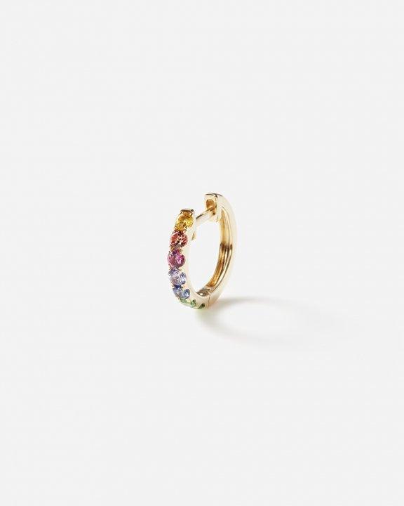 Orb hoop midi with rainbow sapphires and tsavorites