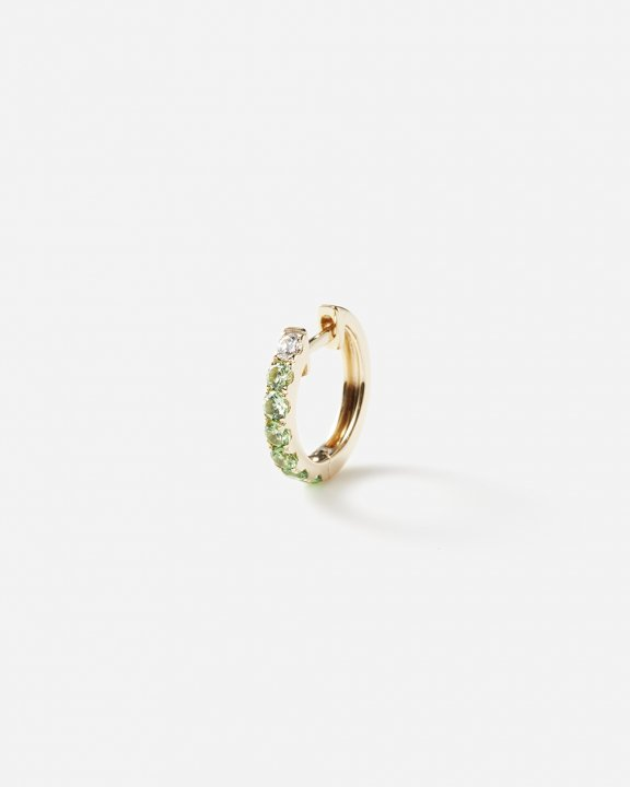 Orb hoop midi with diamond and tsavorites | ダイヤモンド ツァボライト ピアス