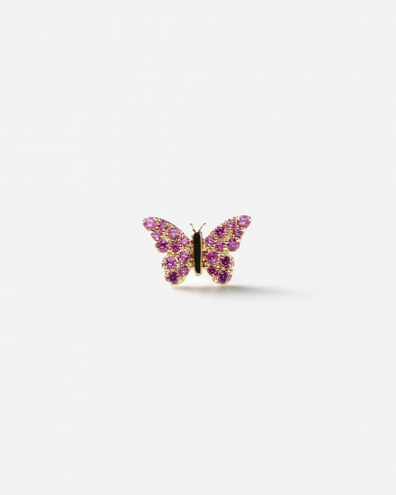 -STUD CLUB- Butterfly Stud with full pink sapphires