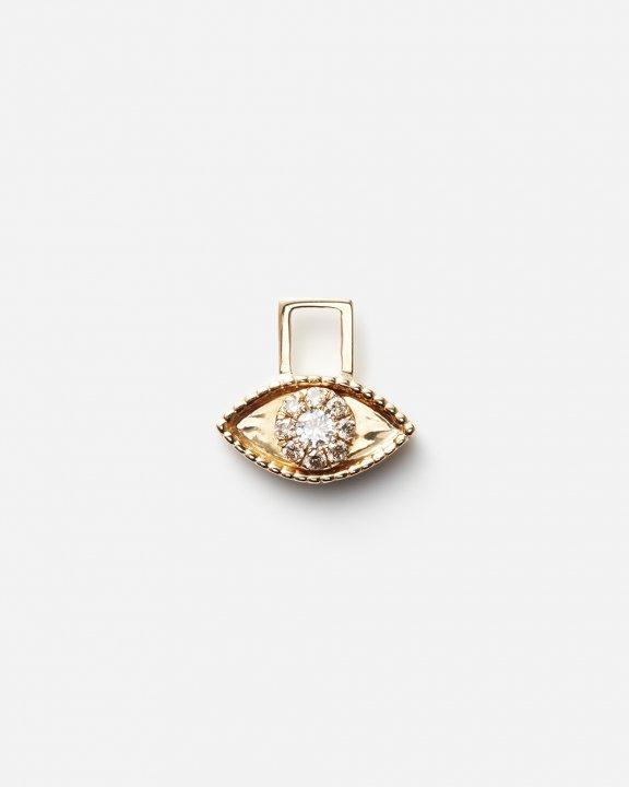 Third Eye EarWish set with diamonds and single brown diamond