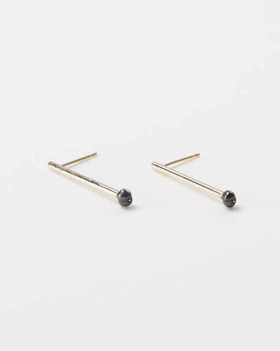 SEN-stem Black pearl | ブラックパールピアス