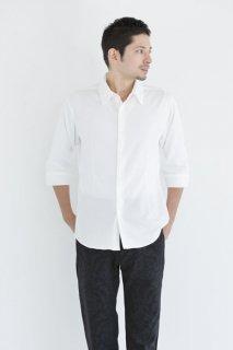 285ニット イタリアンカラー スリムシャツ 七分袖メンズ