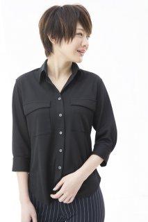 288デザインポケットシャツ七分袖 レディース