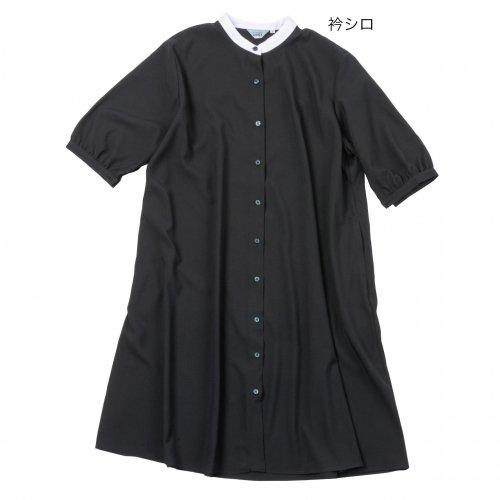 52011配色衿ワンピース 袖バルーンサッカー