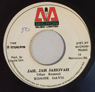 RONNIE DAVIS - JAH JAH JAHOVAH<img class='new_mark_img2' src='https://img.shop-pro.jp/img/new/icons25.gif' style='border:none;display:inline;margin:0px;padding:0px;width:auto;' />