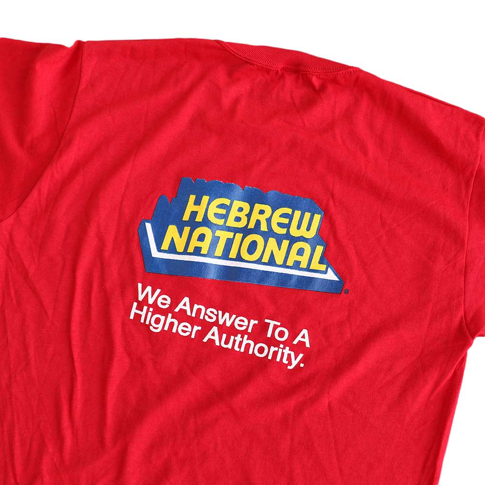 w-means(ダブルミーンズ) HEBREW NATIONAL  半袖Tシャツ  アメリカ製  表記L  濃赤 詳細画像3