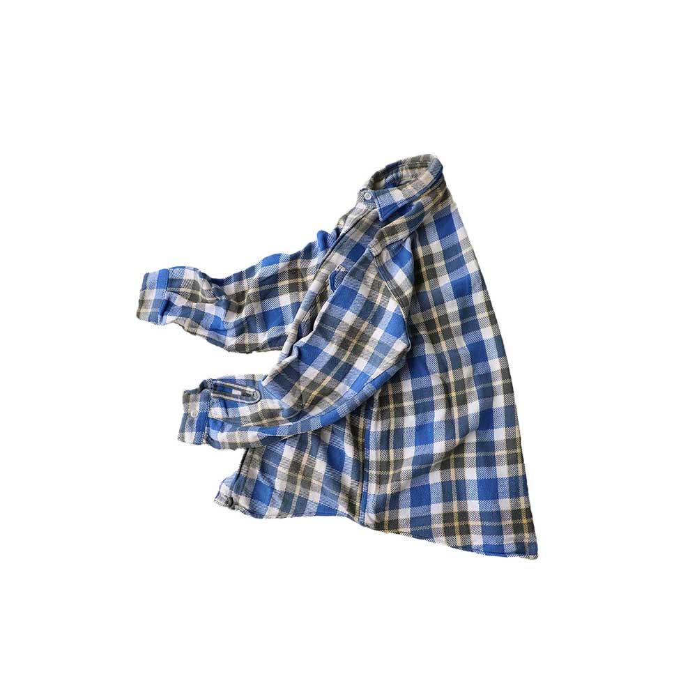 w-means(ダブルミーンズ) Penney's BIGMAC コットンネルシャツ 表記M 15-15ハーフ ブルーチェック柄 詳細画像5