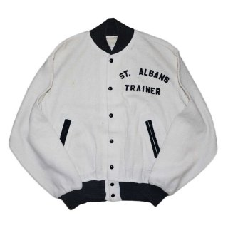 Vintage 100%アクリルスタジアムジャケット 表記xL 白×黒