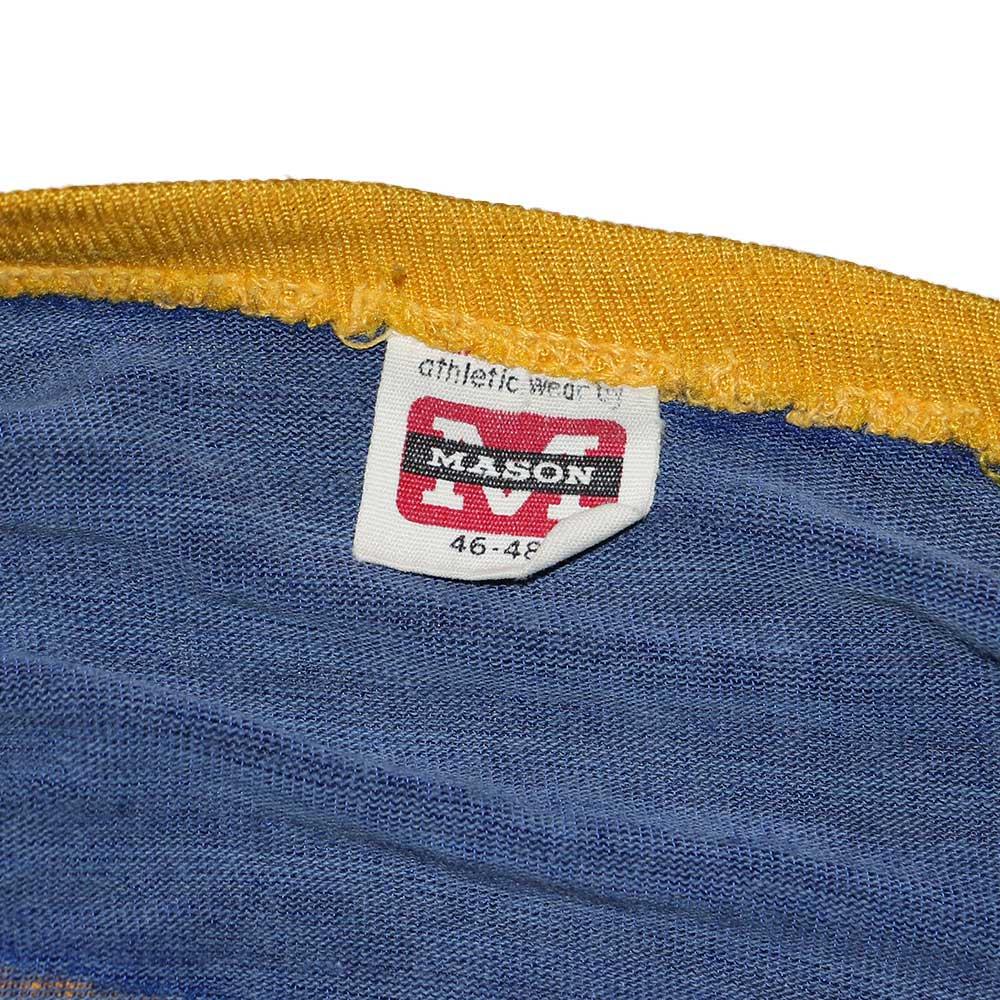w-means(ダブルミーンズ) MASON ナイロン半袖Tシャツ 表記46-48 青×黄色 詳細画像1
