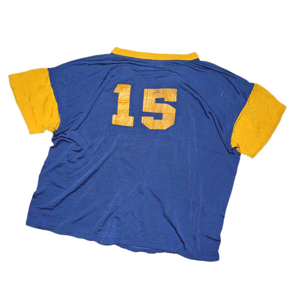 w-means(ダブルミーンズ) MASON ナイロン半袖Tシャツ 表記46-48 青×黄色 詳細画像2